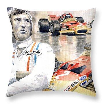 Jochen Rindt Golden Leaf Team Lotus Lotus 49b Lotus 49c Throw Pillow