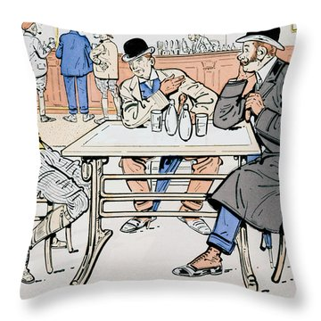 Jockey And Trainers In The Bar Throw Pillow by Thelem