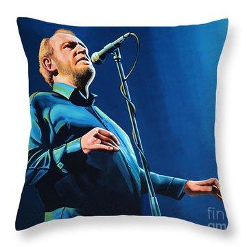 Joe Cocker Painting Throw Pillow