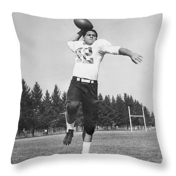 Joe Francis Throwing Football Throw Pillow by Underwood Archives