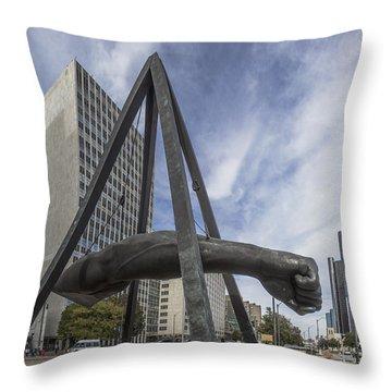 Joe Louis Fist Downtown Detroit  Throw Pillow