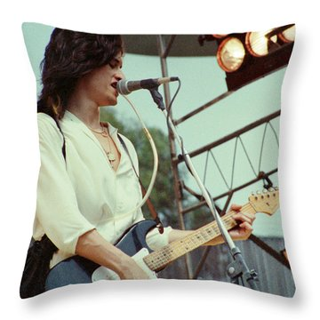 Joe Perry Of Aerosmith At 1979 Monsters Of Rock In Oakland Ca Throw Pillow