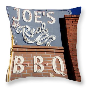 Joes Real Bbq Throw Pillow by Karyn Robinson