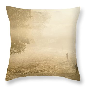 Joggers In Richmond Park London On A Crisp Foggy Autumn Morning Throw Pillow by Matthew Gibson