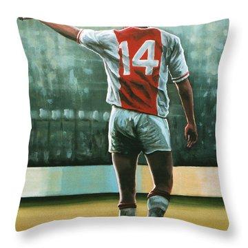 Johan Cruijff Nr 14 Painting Throw Pillow