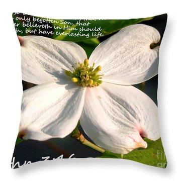 John 3-16/dogwood Legend Throw Pillow by Kathy  White