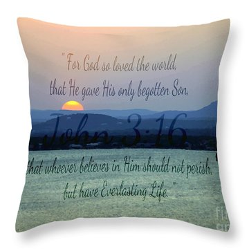 John 3 16 Lake Sunset Throw Pillow