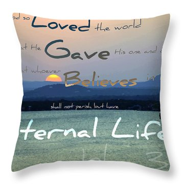 John 3 16 Throw Pillow by Sharon Soberon