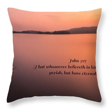 Throw Pillow featuring the photograph John 3 Verse 15 by Rose-Maries Pictures
