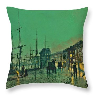 John Atkinson Grimshaw Shipping On The Clyde 1881 Throw Pillow