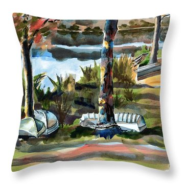 John Boats And Row Boats Throw Pillow by Kip DeVore