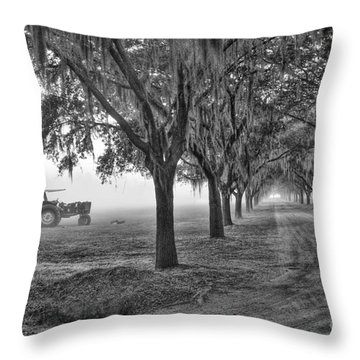 John Deer Tractor And The Avenue Of Oaks Throw Pillow