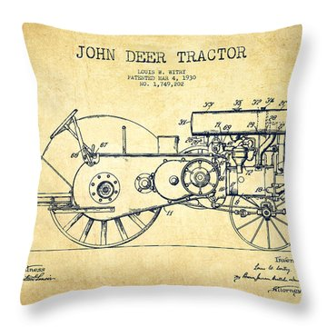 John Deer Tractor Patent Drawing From 1930 - Vintage Throw Pillow