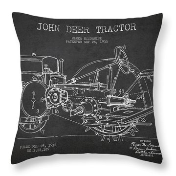 John Deer Tractor Patent Drawing From 1933 Throw Pillow