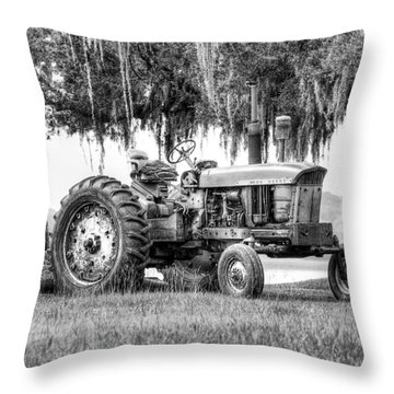 John Deer Tractor Under The Old Cedar Throw Pillow