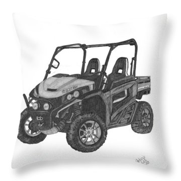 Throw Pillow featuring the drawing John Deere Gator by Patricia Hiltz