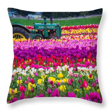 John Deere In Spring Throw Pillow by Patricia Babbitt