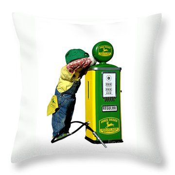 John Deere Kid Throw Pillow by Olivier Le Queinec