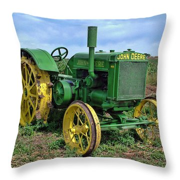 John Deere Tractor Hdr Throw Pillow by Ken Smith