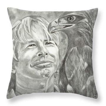 John Denver And Friend Throw Pillow by Carol Wisniewski