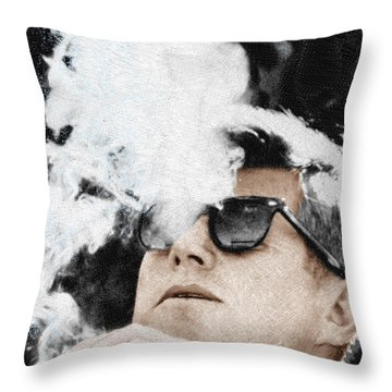 John F Kennedy Cigar And Sunglasses Throw Pillow by Tony Rubino