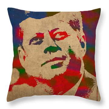 John F Kennedy Jfk Watercolor Portrait On Worn Distressed Canvas Throw Pillow by Design Turnpike