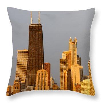 John Hancock Center Chicago Throw Pillow by Adam Romanowicz