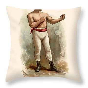 John L. Sullivan Boxer Throw Pillow by Gary Grayson