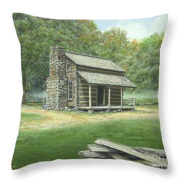 John Oliver Cabin Throw Pillow by Bob  George