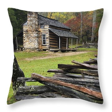 John Oliver Cabin - D000352 Throw Pillow by Daniel Dempster