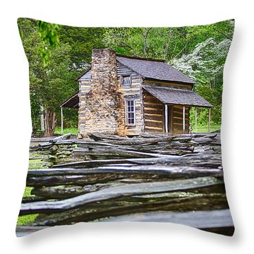 John Oliver Cabin In Cades Cove Throw Pillow by John Haldane