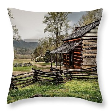 Throw Pillow featuring the photograph John Oliver's Cabin In Spring. by Debbie Green