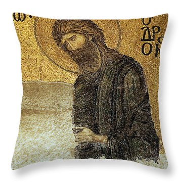 Throw Pillow featuring the photograph John The Baptist-detail Of Deesis Mosaic  Hagia Sophia-judgement Day by Urft Valley Art