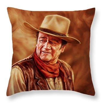 John Wayne Throw Pillow by Dick Bobnick