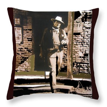 John Wayne Exciting The Sheriff's Office Rio Bravo Set Old Tucson Arizona 1959-2013 Throw Pillow by David Lee Guss