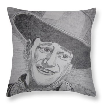 Throw Pillow featuring the painting John Wayne by Kathy Marrs Chandler