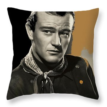 John Wayne  Publicity Photo In Costume Stagecoach 1939-2009 Throw Pillow by David Lee Guss