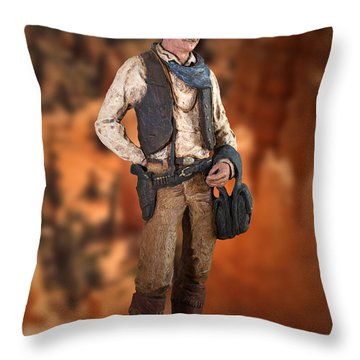 John Wayne The Cowboy Throw Pillow by Thomas Woolworth