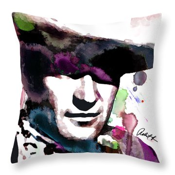John Wayne Water Color Pop Art By Robert R Throw Pillow