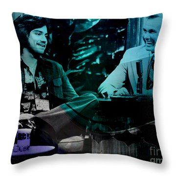 Johnny Carson And Freddie Prince Jr Throw Pillow by Marvin Blaine