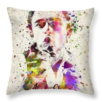 Johnny Cash  Throw Pillow by Aged Pixel