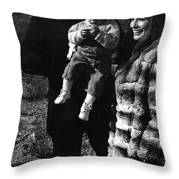 Throw Pillow featuring the photograph Johnny Cash And Family Old Tucson Arizona 1971 by David Lee Guss