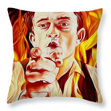 Johnny Cash And It Burns Throw Pillow