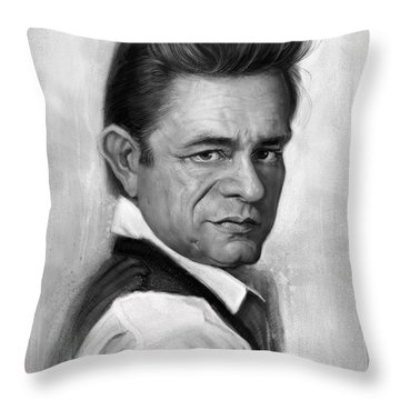 Johnny Cash Throw Pillow by Andre Koekemoer