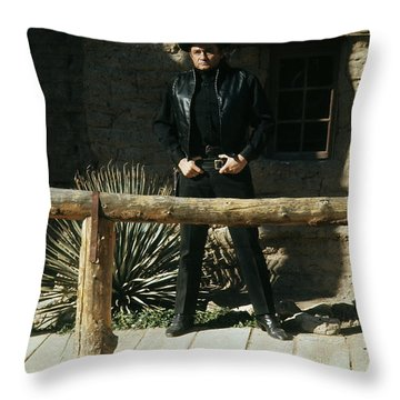 Throw Pillow featuring the photograph Johnny Cash Gunfighter Hitching Post Old Tucson Arizona 1971 by David Lee Guss