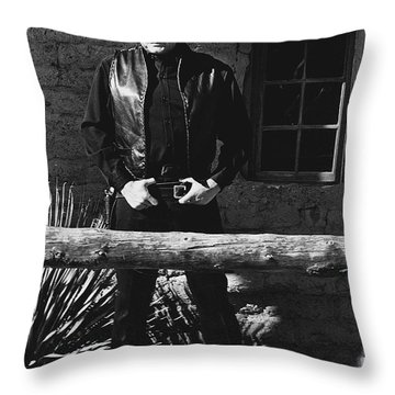 Throw Pillow featuring the photograph Johnny Cash Gunslinger Hitching Post Old Tucson Arizona 1971  by David Lee Guss