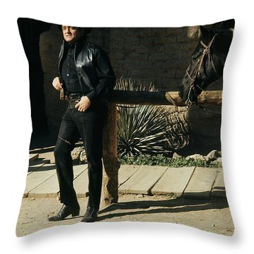 Throw Pillow featuring the photograph Johnny Cash Horse Old Tucson Arizona 1971 by David Lee Guss