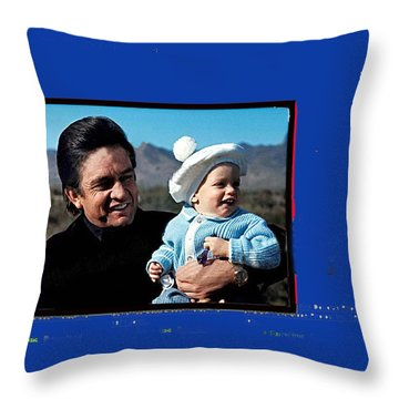 Throw Pillow featuring the photograph Johnny Cash John Carter Cash Old Tucson Arizona 1971 by David Lee Guss