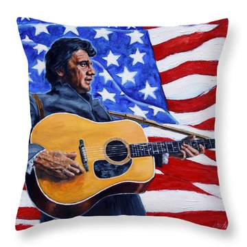 Johnny Cash Throw Pillow by John Lautermilch
