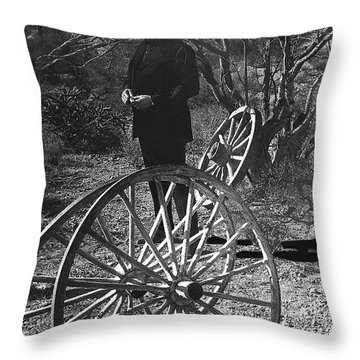 Throw Pillow featuring the photograph Johnny Cash  Meditating Wagon Wheel Graveyard Old Tucson Arizona 1971 by David Lee Guss